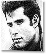 John Travolta Art Drawing Sketch Portrait Metal Print