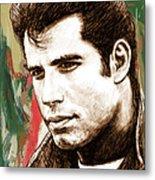 John Travolta - Stylised Drawing Art Poster Metal Print