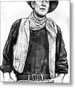 John Wayne Art Drawing Sketch Portrait Metal Print