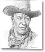 John Wayne Pencil Portrait Metal Print
