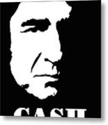 Johnny Cash Black And White Pop Art Metal Print