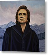 Johnny Cash Painting Metal Print