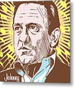 Johnny Cash Pop Art Metal Print