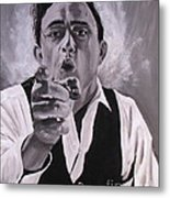 Johnny Cash Portrait Metal Print