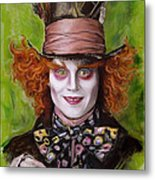 Johnny Depp As Mad Hatter Metal Print by Melanie D