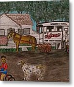 Johnsons Milk Wagon Pulled by a Horse  Metal Print