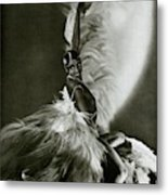 Josephine Baker Wearing A Feathered Cape Metal Print