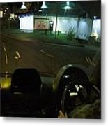 Joy Ride At Mid Night In Paris View From Rear   Of Limo Metal Print