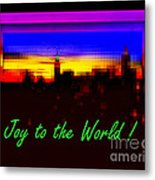 Joy To The World - Empire State Christmas And Holiday Card Metal Print