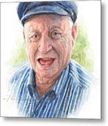 Joyful Grandfather Watercolor Portrait  Metal Print