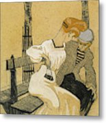 Juan Gris, Man And Woman On Bench, Spanish Metal Print