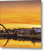 Jubia Bridge Panorama Neda Naron Galicia Spain Metal Print
