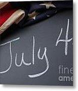 July 4 Sign On Chalkboard Metal Print