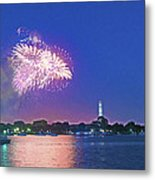 July 4th Fireworks Along The Potomac Metal Print by Steven Barrows