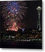 July 4th Fireworks In Seattle Metal Print