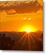 Jump Off Rock Sunset Flare Metal Print