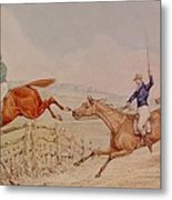 Jumping A Fence Metal Print