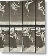 Jumping And Kicking Metal Print