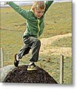 Jumping Haystacks Metal Print