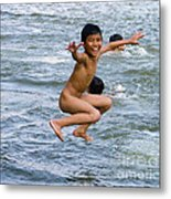 Jumping In The River Metal Print