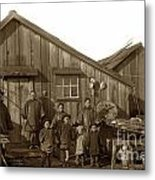 Jung San Choy And Chinese Family Pescadero Village Pebble Beach California Circa 1895 Metal Print