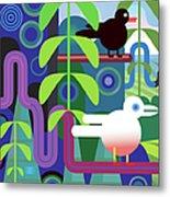 Jungle Vector Illustration With Birds Metal Print