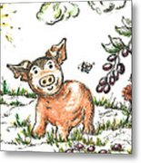 Junior Pig Metal Print