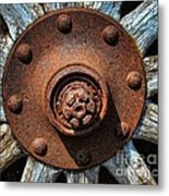 Junk Yard Wheel Hub And Wooden Spokes Metal Print