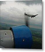 Junkers Ju-52 Flight Under Dark Clouds Metal Print