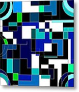 Just Colors And Lines Blue Metal Print