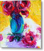 Just Past Bloom - Roses Still Life Metal Print