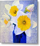 Just Plain Daffy 2 In Blue - Flora - Spring - Daffodil - Narcissus - Jonquil  Metal Print