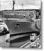 Kaethe P Container Ship Panama Canal Monochrome Metal Print