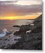 Kaena Point Sea Arch Sunset - Oahu Hawaii Metal Print