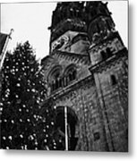 Kaiser Wilhelm Gedachtniskirche Memorial Church And Christmas Tree Berlin Germany Metal Print
