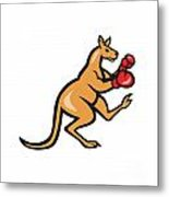 Kangaroo Kick Boxer Boxing Cartoon Metal Print by Aloysius Patrimonio