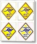 Kangaroos Road Sign Pop Art Metal Print