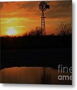 Kansas Blaze Orange Sunset With Windmill And Water Reflection Metal Print