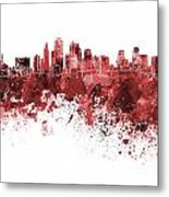 Kansas City Skyline In Red Watercolor On White Background Metal Print