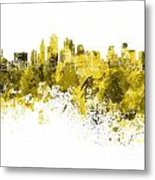 Kansas City Skyline In Yellow Watercolor On White Background Metal Print