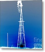 Kansas Country Windmill Inverted Negative Sunset Metal Print