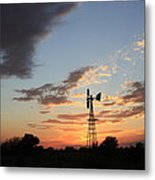 Kansas Golden Sky With A Windmill Metal Print