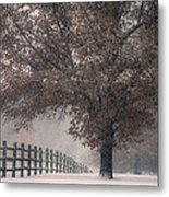 Kansas Snowstorm - Tree And Fence Metal Print