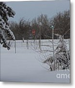 Kansas Snowy Landscape Tree's And Fence Metal Print