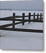 Kansas Snowy Wooden Fence Metal Print