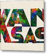 Kansas Typographic Watercolor Map Metal Print
