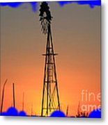 Kansas Windmill Framed Orange Silhouette In Blue Metal Print
