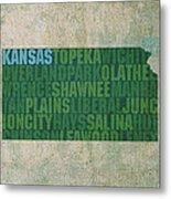Kansas Word Art State Map On Canvas Metal Print