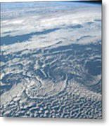 Karman Vortex Cloud Streets From Space Metal Print