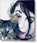 Kate And Her Cat Metal Print by Paul Lovering